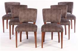 SET 6 ART DECO UPHOLSTERED DINING CHAIRS 1940
