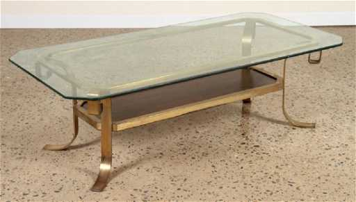 afb7320d8f562 BRONZE AND GLASS COFFEE TABLE INSET WALNUT C.1960