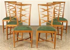 SET 6 ITALIAN OAK DINING CHAIRS MANNER GIO PONTI