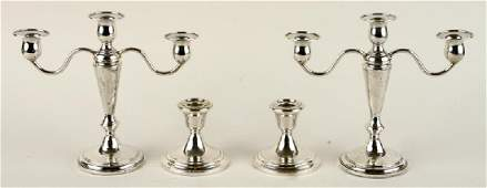 TWO PAIRS OF STERLING SILVER CANDLESTICKS GORHAM