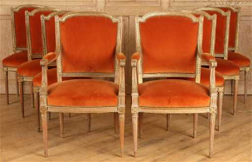 Set Eight Louis Xvi Dining Chairs Upholstered Placeholder