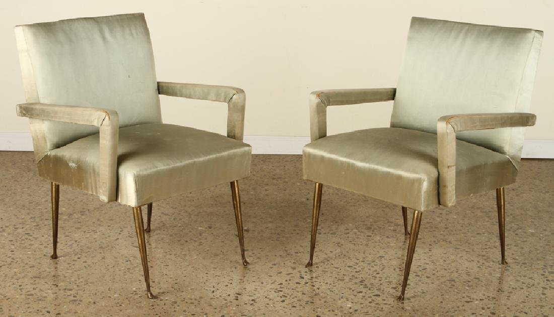 PAIR TAILORED ITALIAN OPEN ARM CHAIRS BRASS LEGS