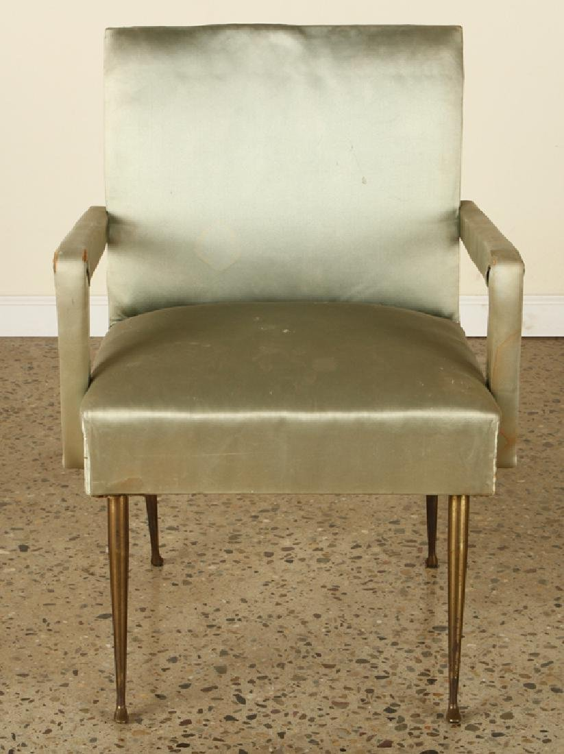 PAIR TAILORED ITALIAN OPEN ARM CHAIRS BRASS LEGS - 3