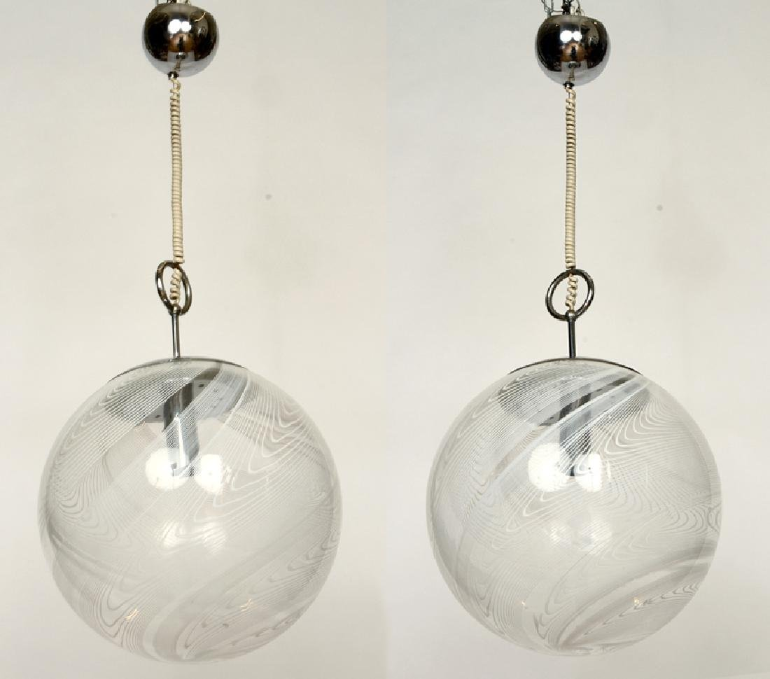 MID CENTURY MODERN CHROME CHANDELIER GLASS GLOBES