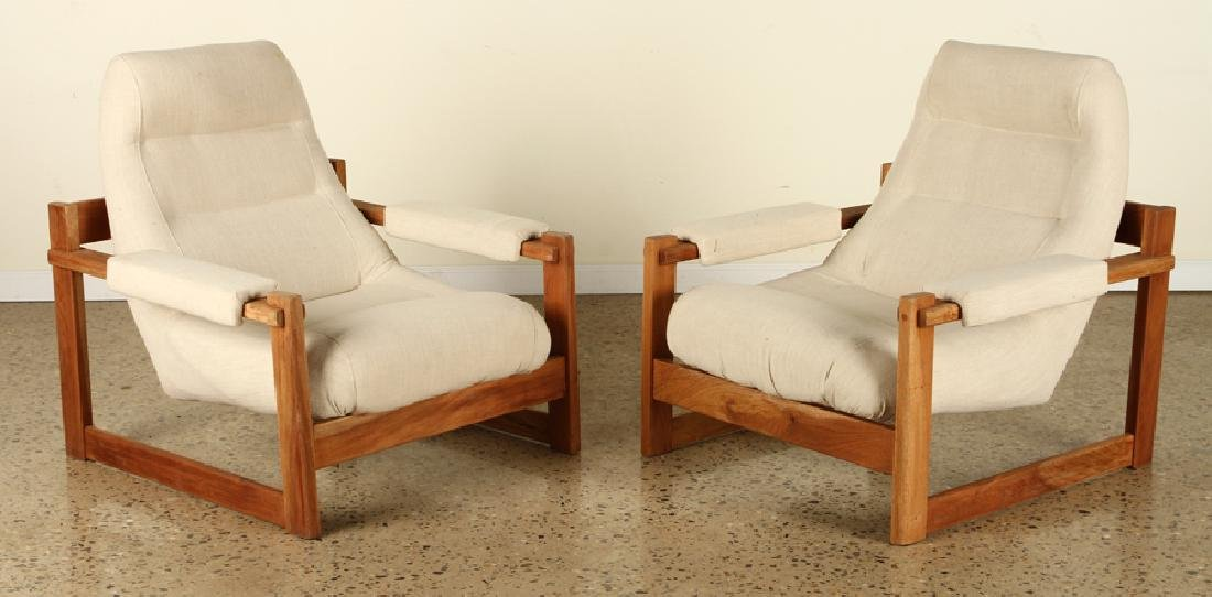 PAIR BRAZILIAN LOUNGE CHAIRS UPHOLSTERED OPEN ARM