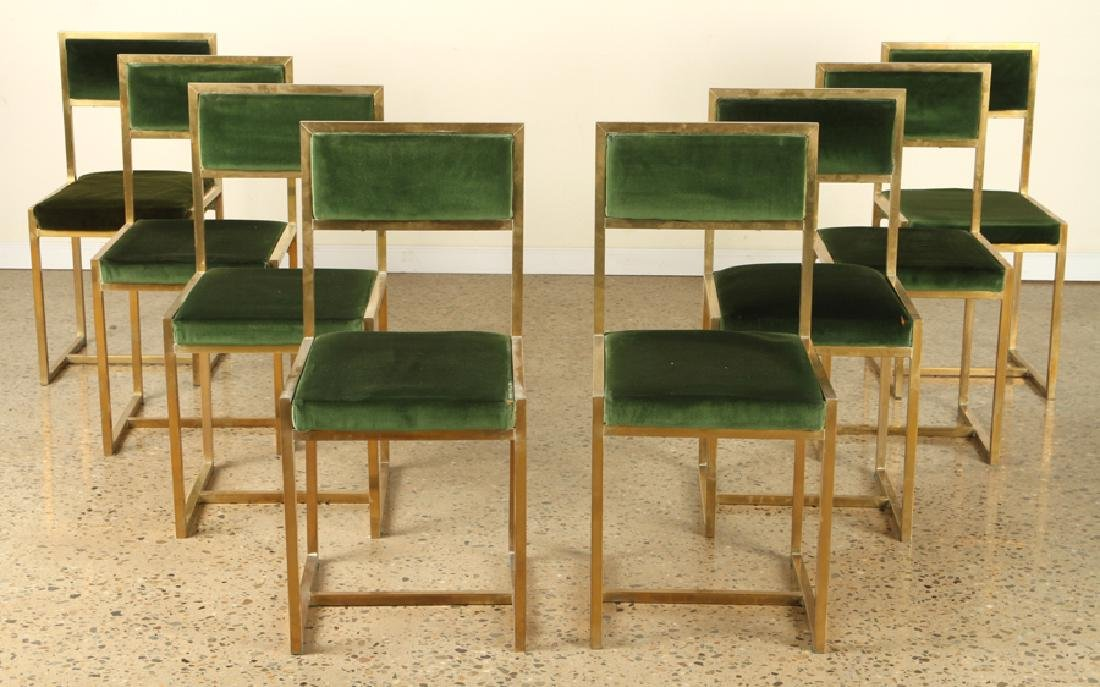 SET 8 FRENCH BRASS DINING CHAIRS UPHOLSTERED