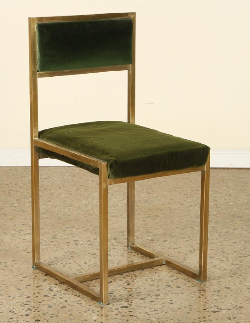 SET 8 FRENCH BRASS DINING CHAIRS UPHOLSTERED - 2