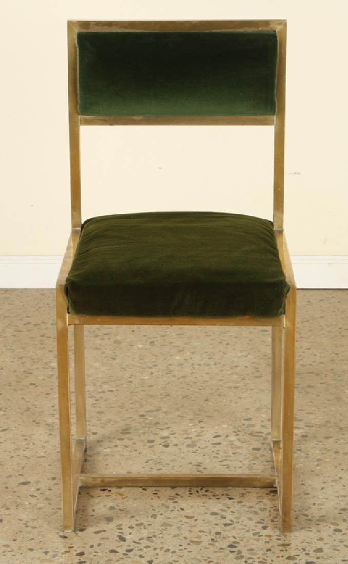 SET 8 FRENCH BRASS DINING CHAIRS UPHOLSTERED - 3