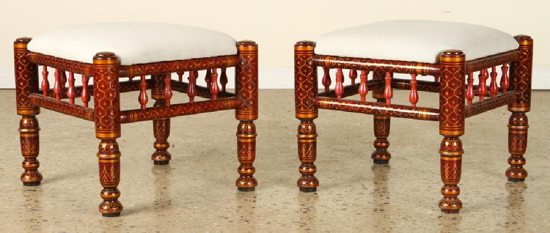 PAIR MOROCCAN PAINTED UPHOLSTERED STOOLS