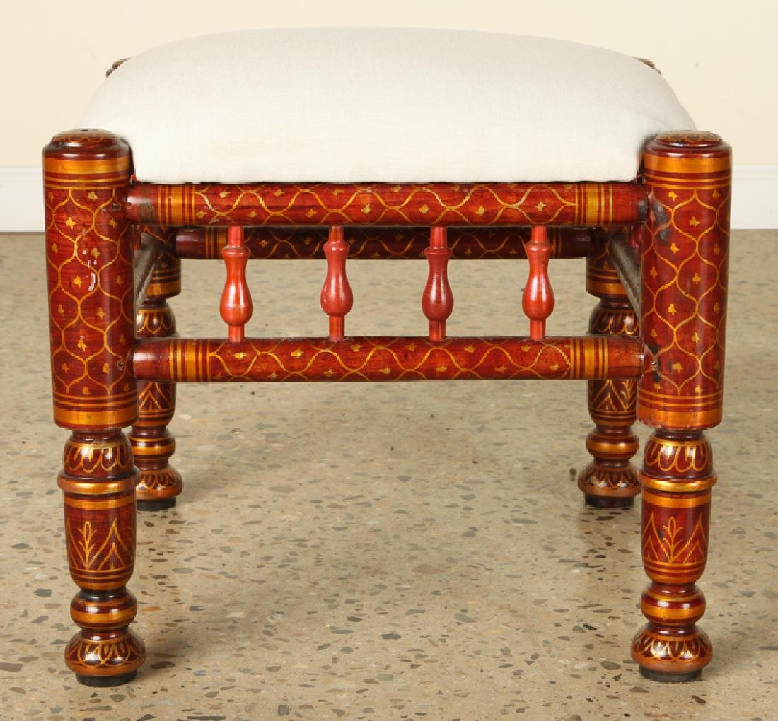 PAIR MOROCCAN PAINTED UPHOLSTERED STOOLS - 3