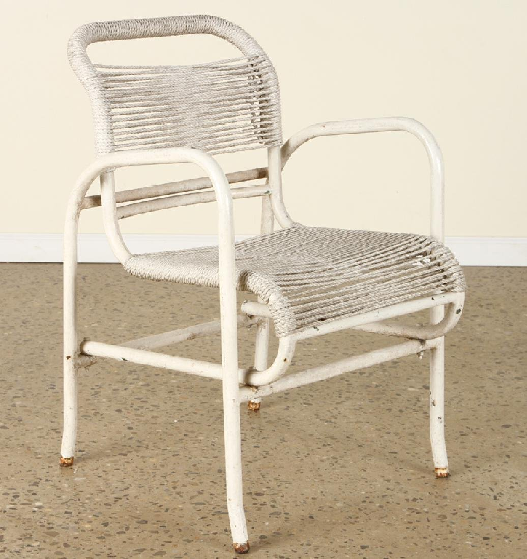 PAIR FRENCH PAINTED IRON OPEN ARM CHAIRS C.1960 - 2