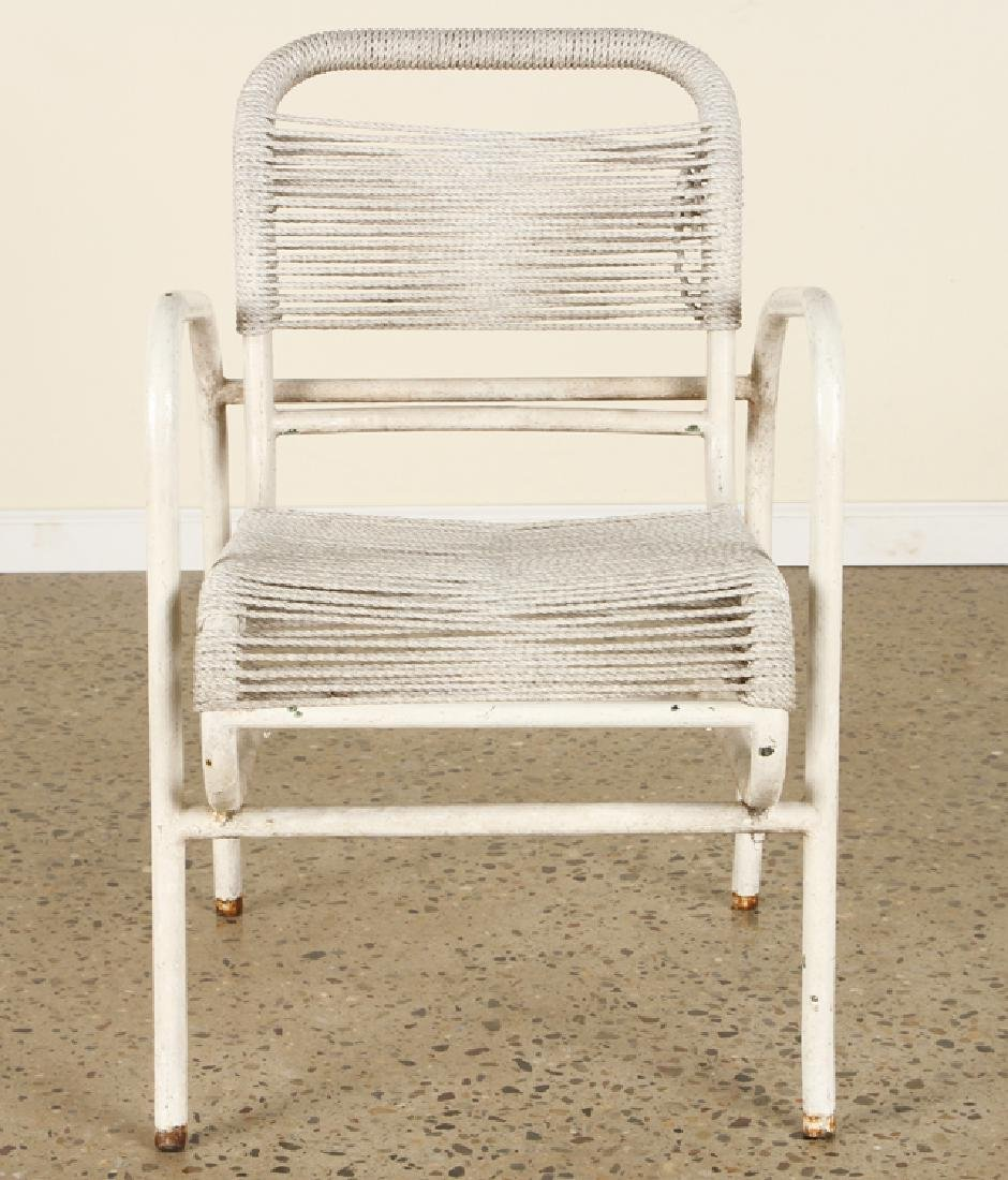 PAIR FRENCH PAINTED IRON OPEN ARM CHAIRS C.1960 - 3