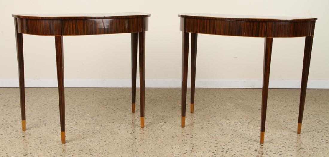 PAIR ART DECO MACASSAR VENEERED CONSOLE TABLES