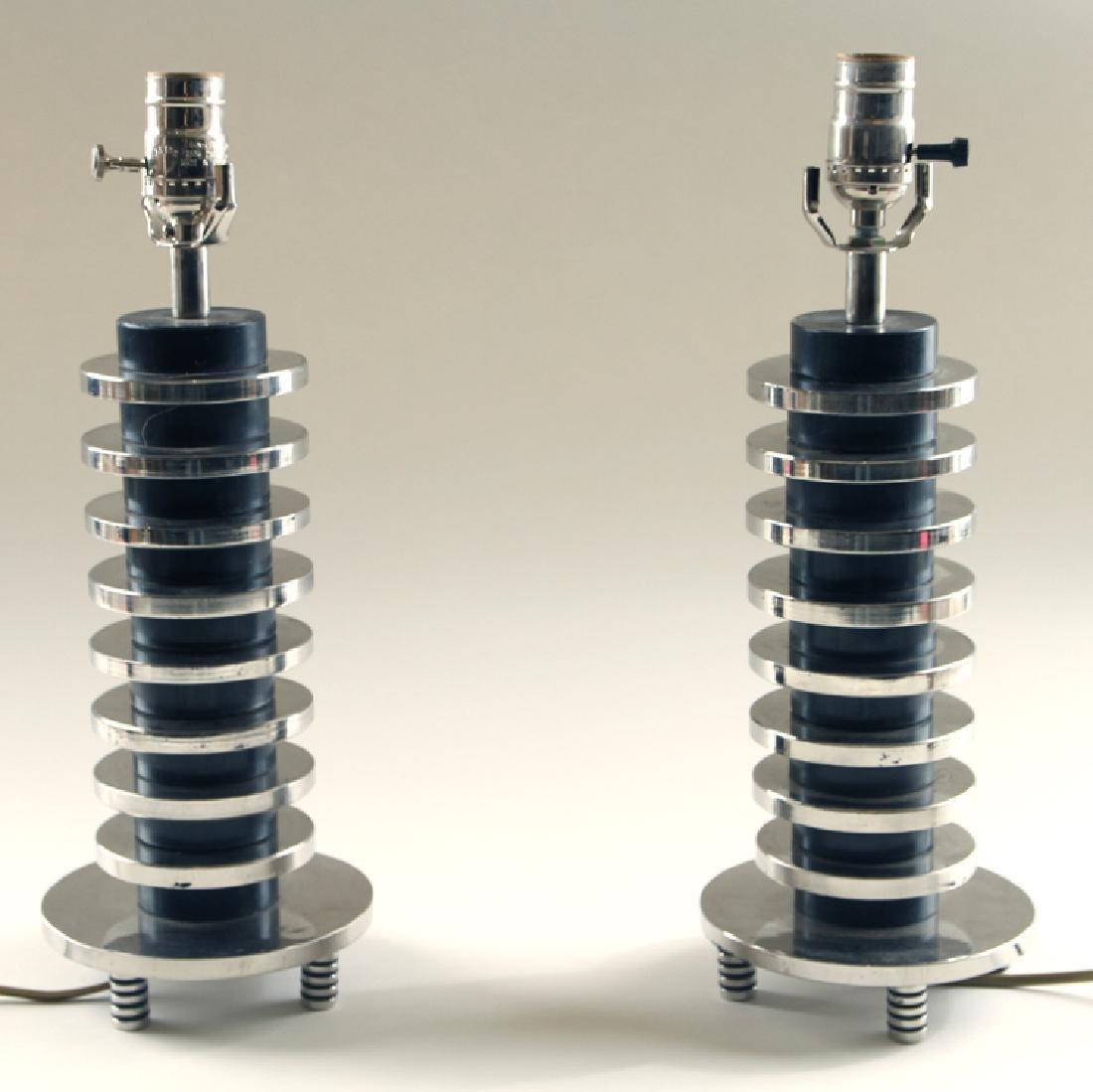 PAIR CHROME ART DECO STYLE TABLE LAMPS