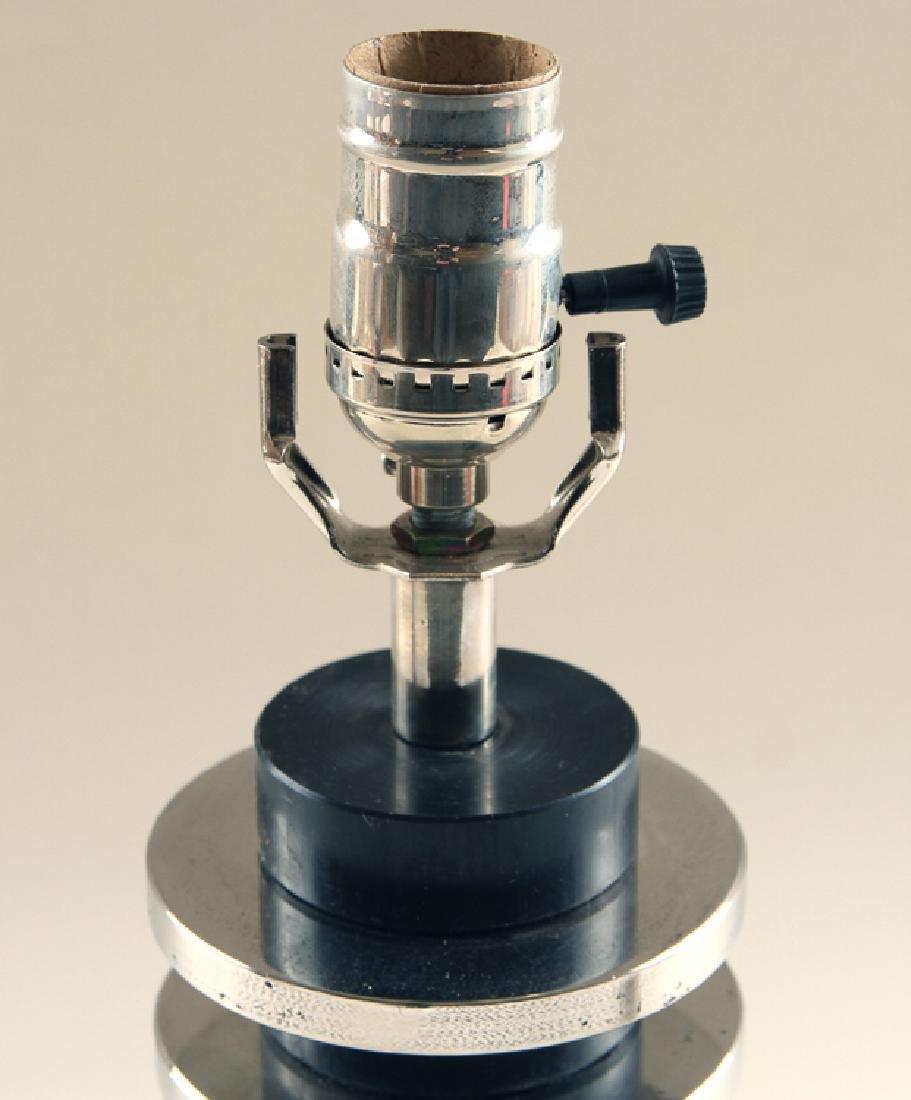 PAIR CHROME ART DECO STYLE TABLE LAMPS - 3