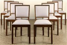 SET 8 CERUSED OAK UPHOLSTERED DINING CHAIRS 1940
