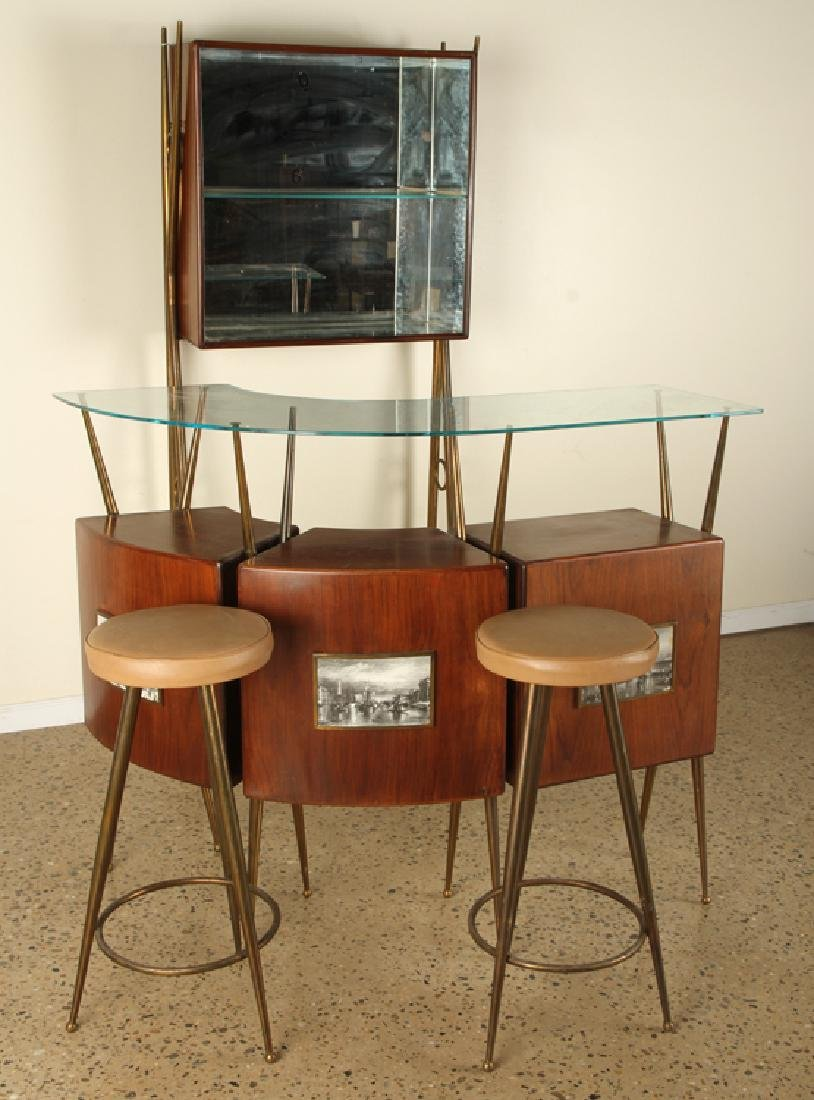 ITALIAN FOUR PIECE BAR SET COUNTER STOOLS 1950