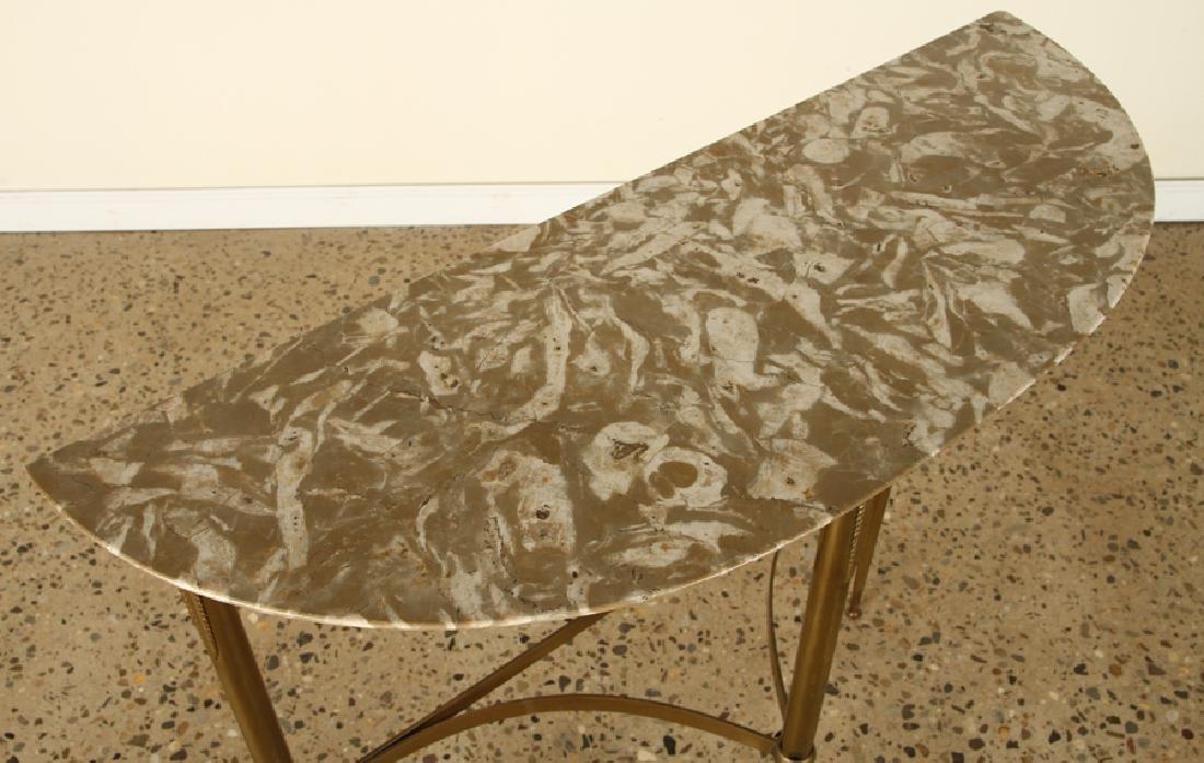 ITALIAN BRASS DEMILUNE CONSOLE TABLE 1950 - 3