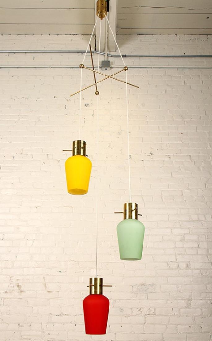 ITALIAN BRASS GLASS HANGING PENDANT LIGHT C.1960