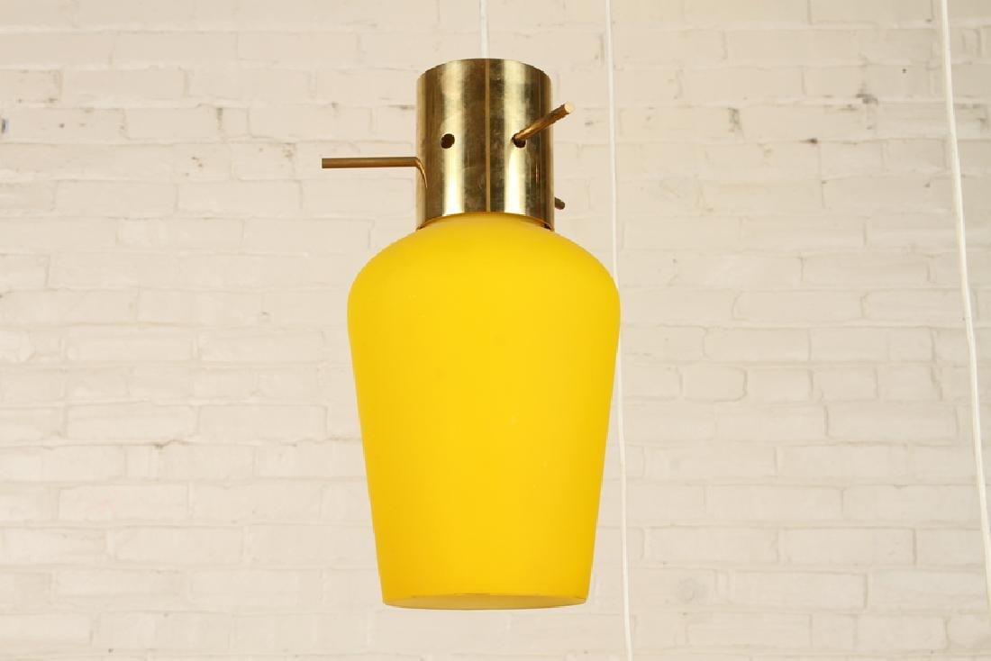 ITALIAN BRASS GLASS HANGING PENDANT LIGHT C.1960 - 3