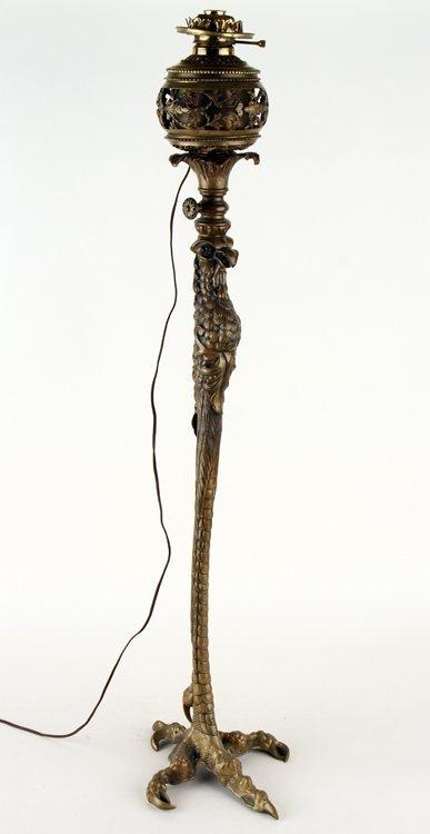 P.E. GUERIN BRONZE OSTRICH LEG FORM FLOOR LAMP