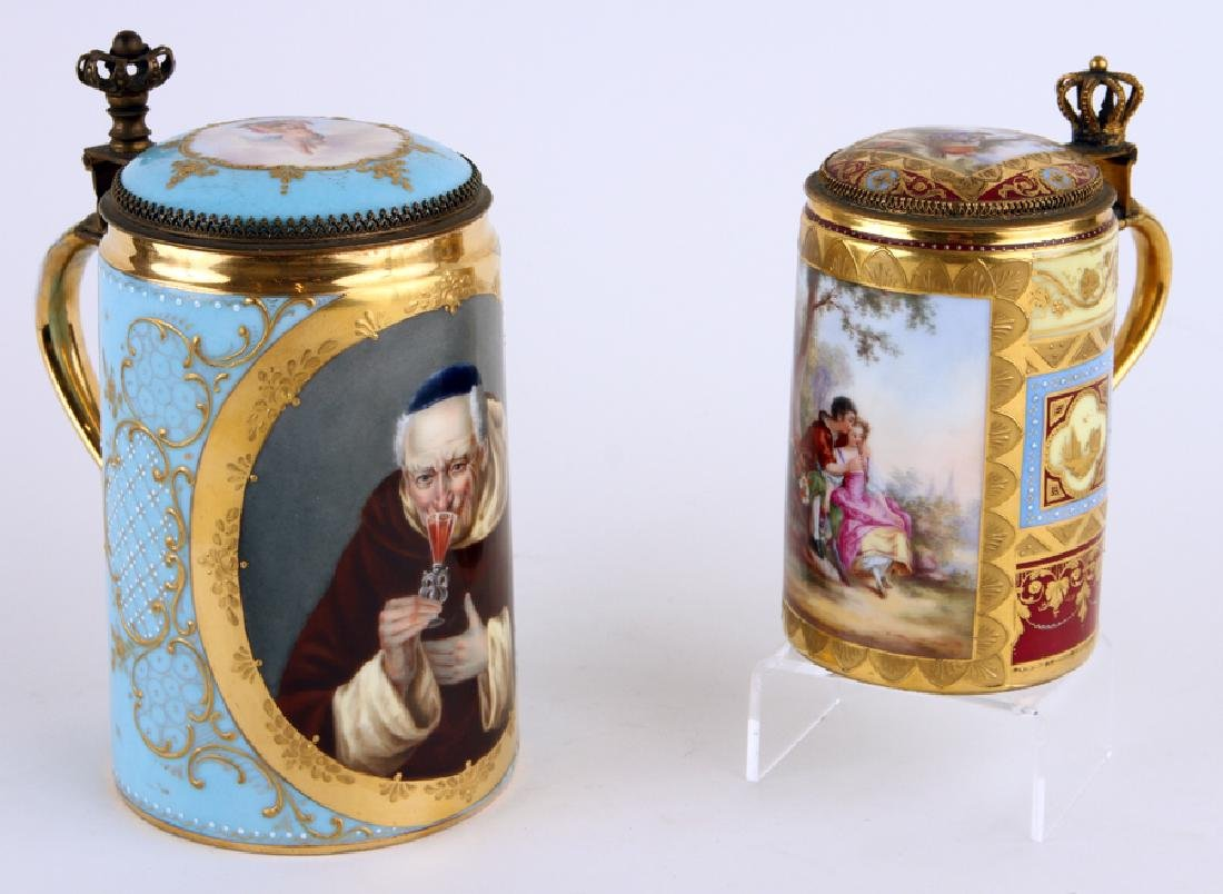 TWO ROYAL VIENNA HAND PAINTED PORCELAIN STEINS