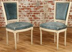 PR LOUIS XVI PAINTED SIDE CHAIRS UPHOLSTERED 1940