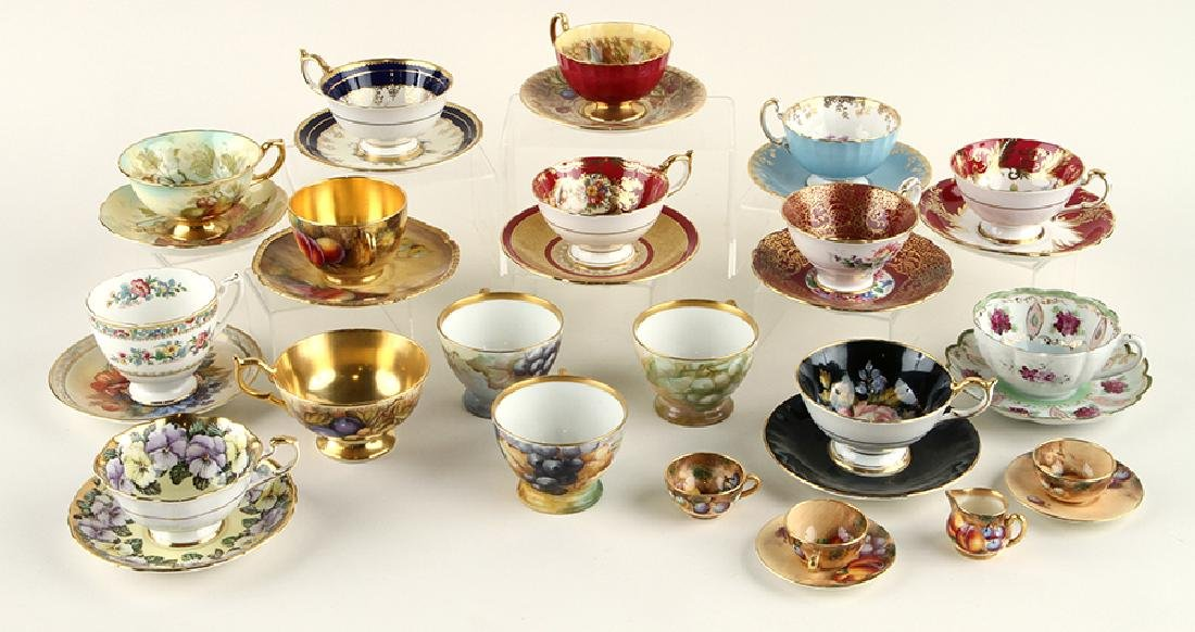 35 HAND PAINTED PORCELAIN TEA CUPS AND SAUCERS - 2