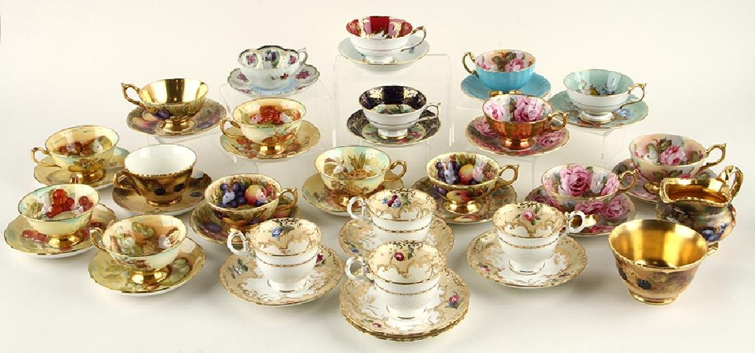 35 HAND PAINTED PORCELAIN TEA CUPS AND SAUCERS - 6