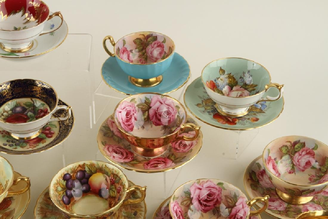 35 HAND PAINTED PORCELAIN TEA CUPS AND SAUCERS - 7
