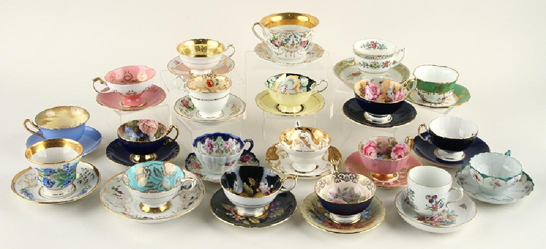 32 HAND PAINTED PORCELAIN TEA CUPS AND SAUCERS - 2