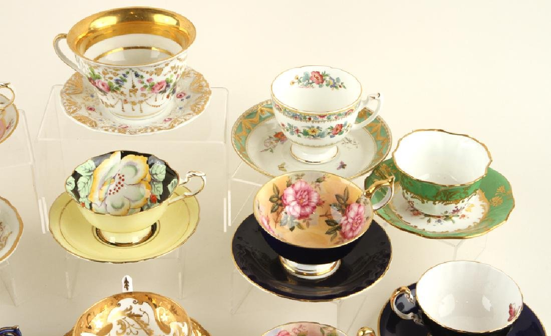 32 HAND PAINTED PORCELAIN TEA CUPS AND SAUCERS - 4