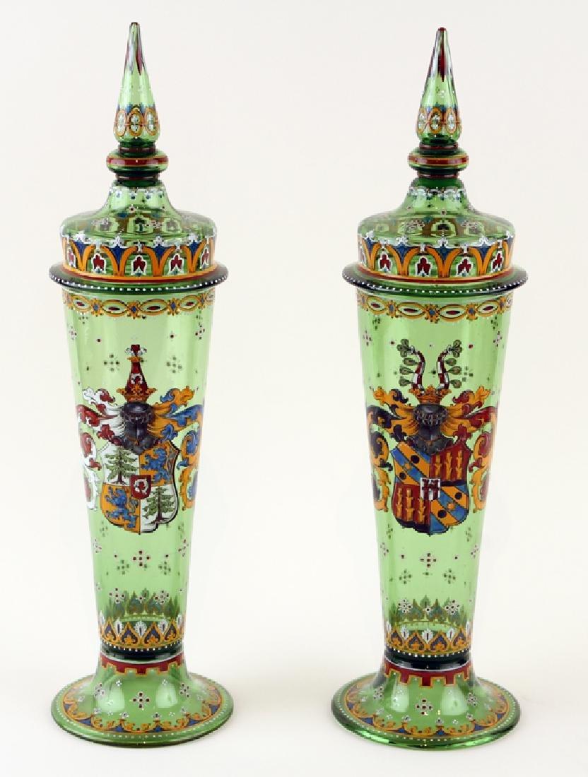 PAIR BOHEMIAN ENAMELED GREEN GLASS COVERED JARS