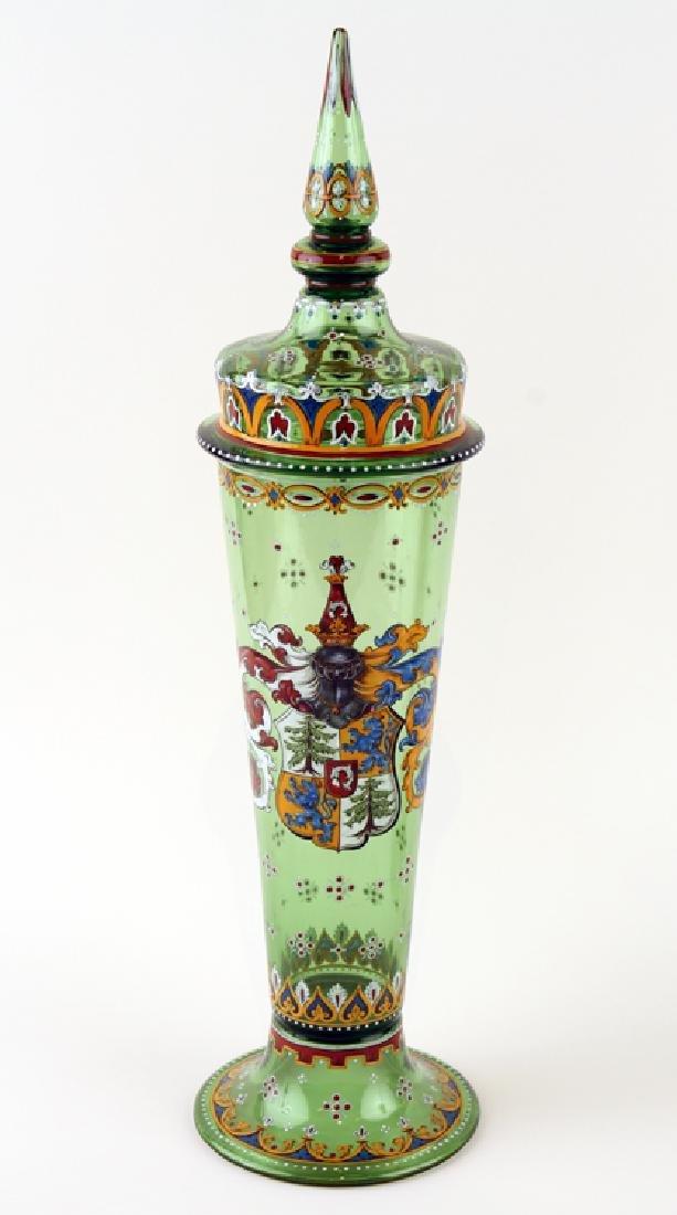 PAIR BOHEMIAN ENAMELED GREEN GLASS COVERED JARS - 2