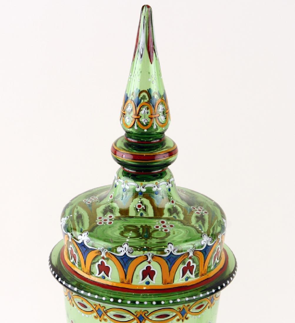 PAIR BOHEMIAN ENAMELED GREEN GLASS COVERED JARS - 3