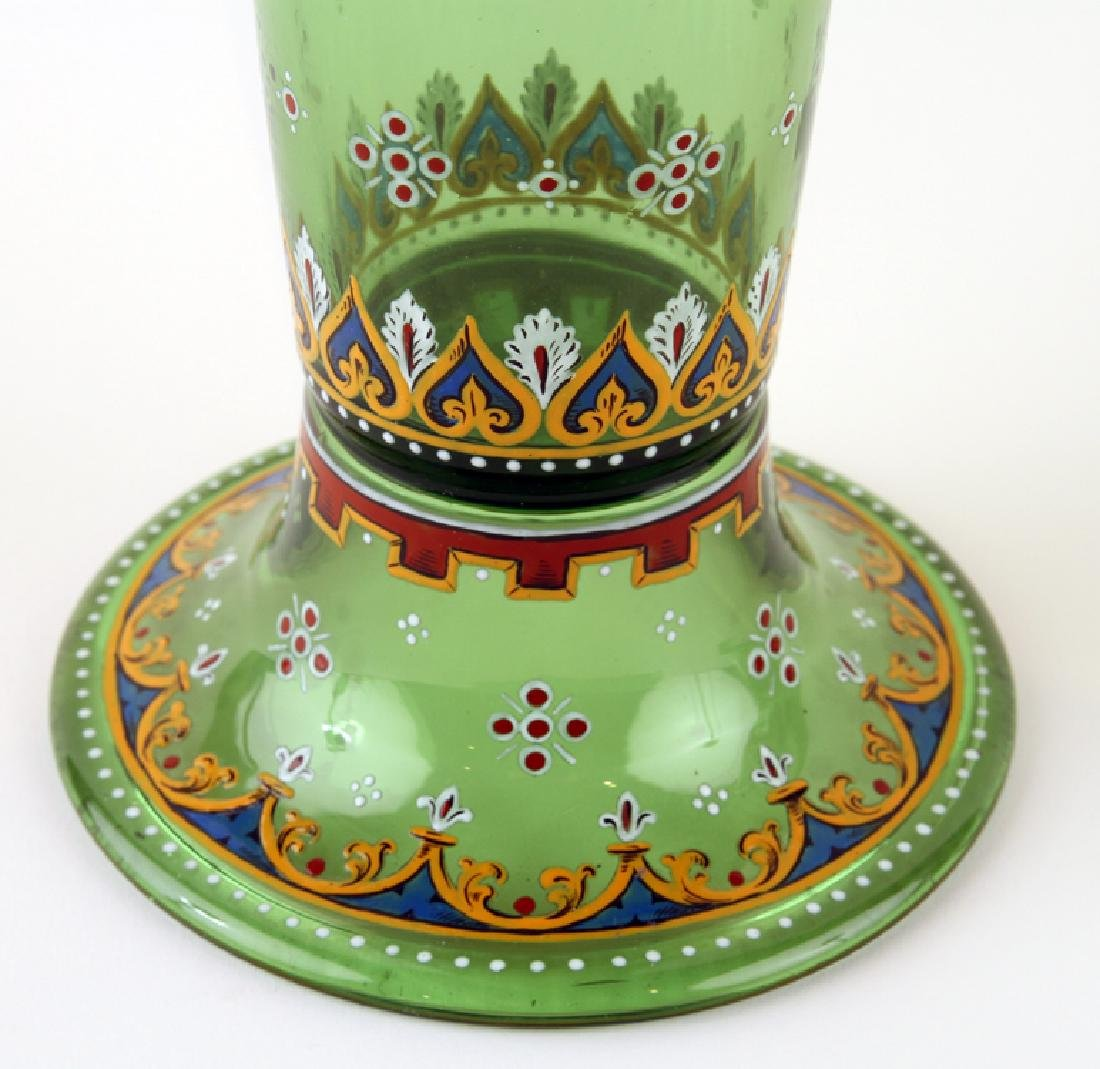 PAIR BOHEMIAN ENAMELED GREEN GLASS COVERED JARS - 5