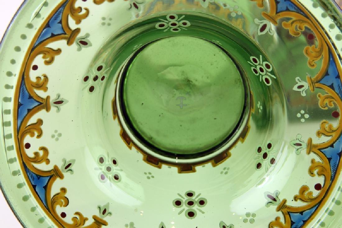 PAIR BOHEMIAN ENAMELED GREEN GLASS COVERED JARS - 6