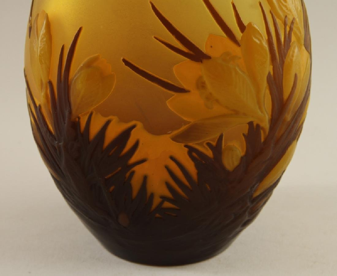 ART NOUVEAU CAMEO ART GLASS VASE WITH TAZZA - 2