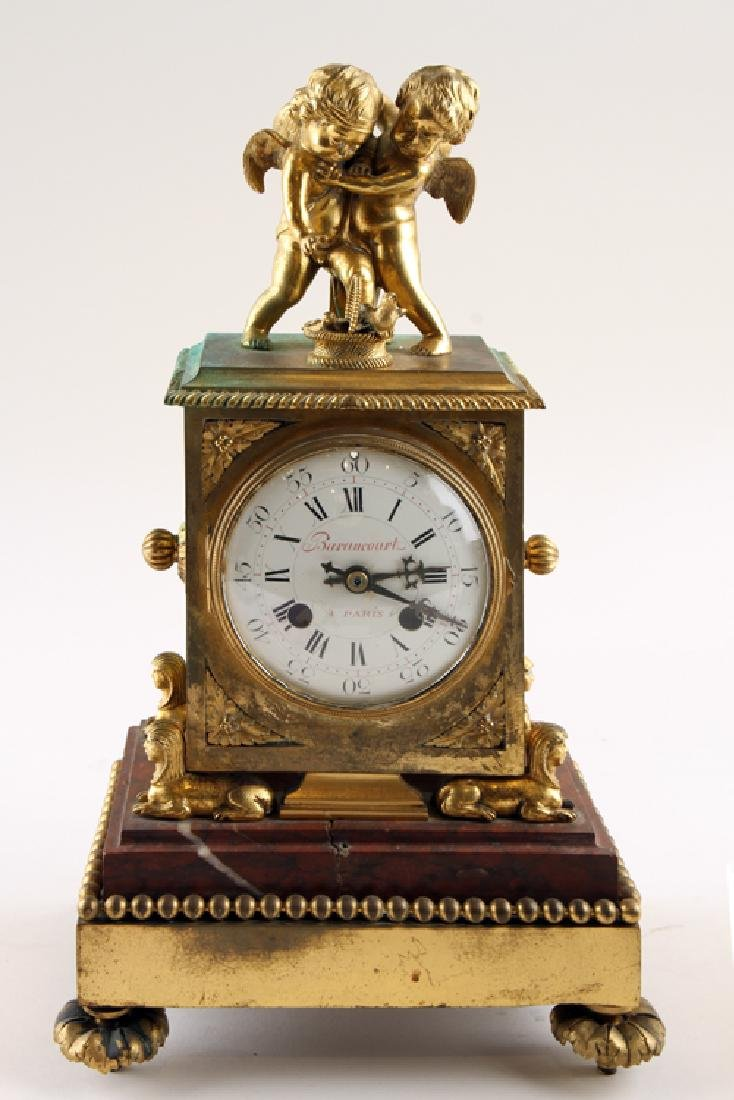 LATE 19TH C FRENCH BARANCOURT BRONZE MANTLE CLOCK