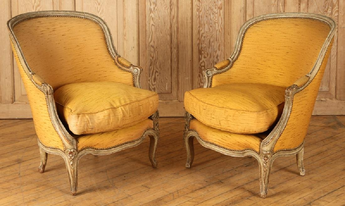 PAIR PAINTED FRENCH LOUIS XV BERGERES 1920