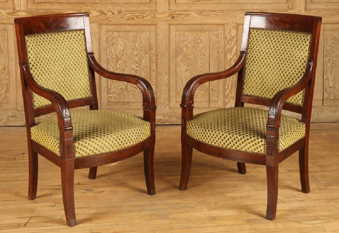 PAIR RESTORATION STYLE 19TH C. OPEN ARM CHAIRS