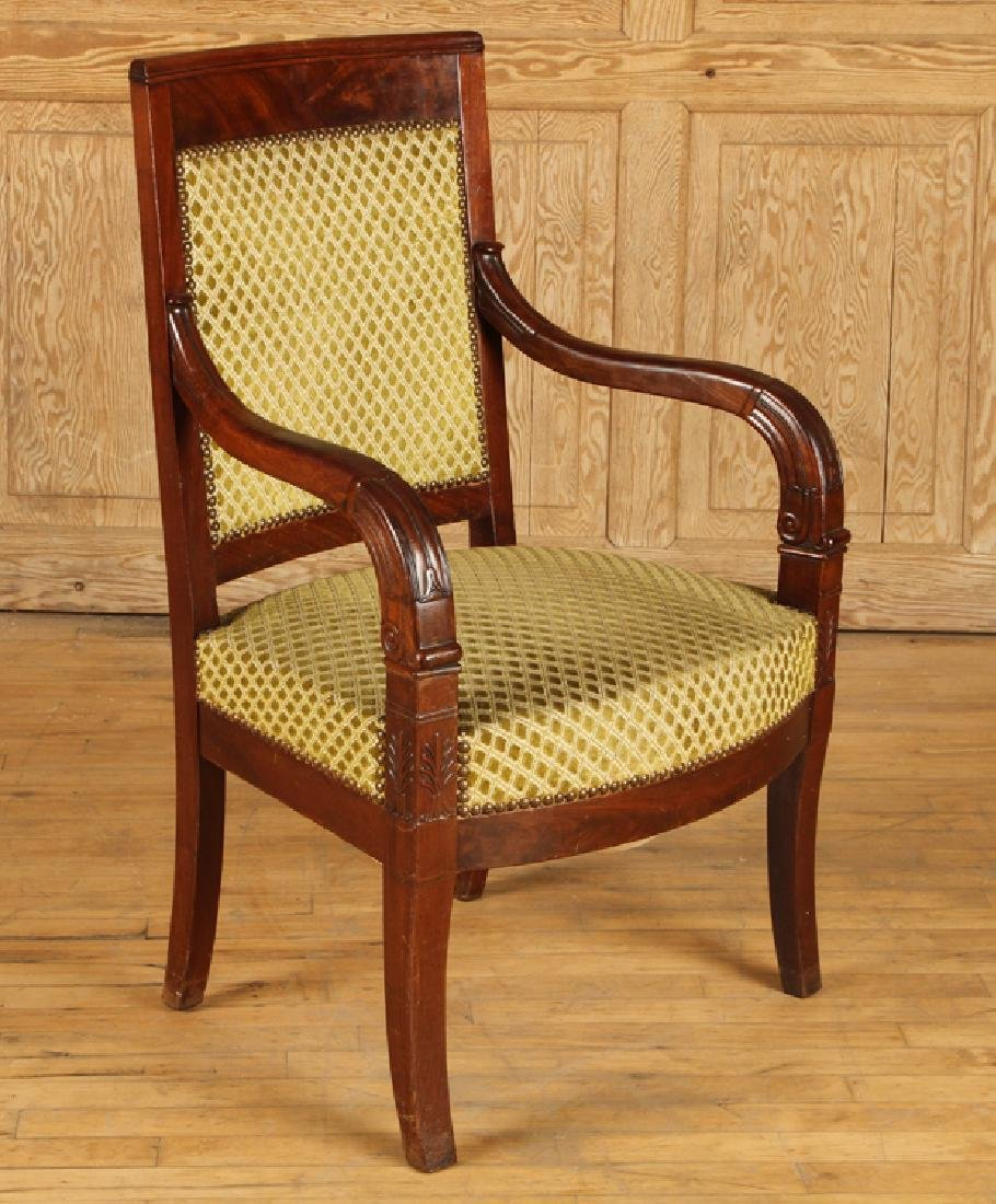 PAIR RESTORATION STYLE 19TH C. OPEN ARM CHAIRS - 2