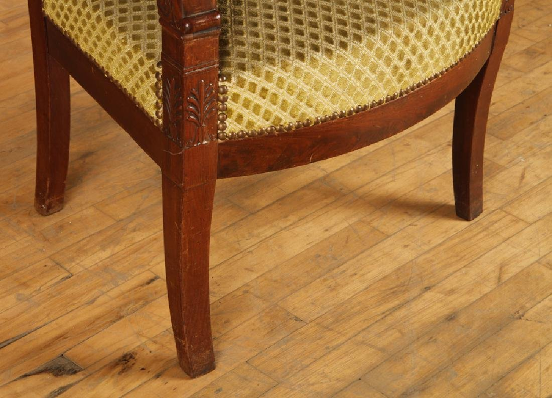 PAIR RESTORATION STYLE 19TH C. OPEN ARM CHAIRS - 5