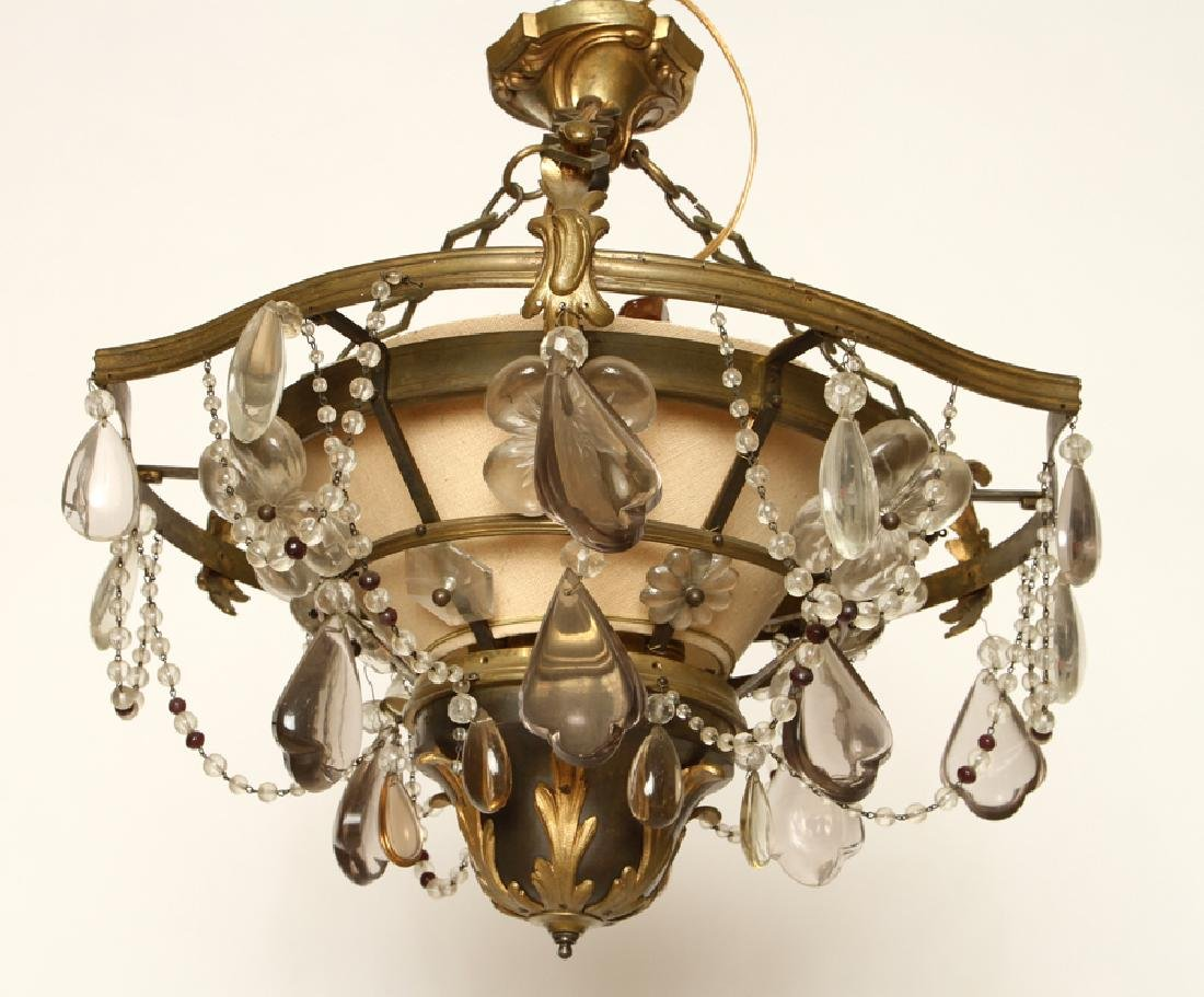 UNIQUE FRENCH BRONZE CRYSTAL CHANDELIER C.1940