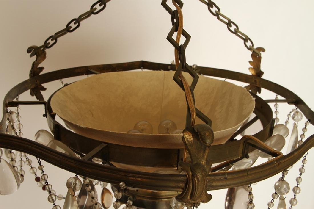 UNIQUE FRENCH BRONZE CRYSTAL CHANDELIER C.1940 - 3