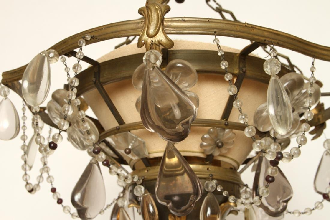 UNIQUE FRENCH BRONZE CRYSTAL CHANDELIER C.1940 - 5