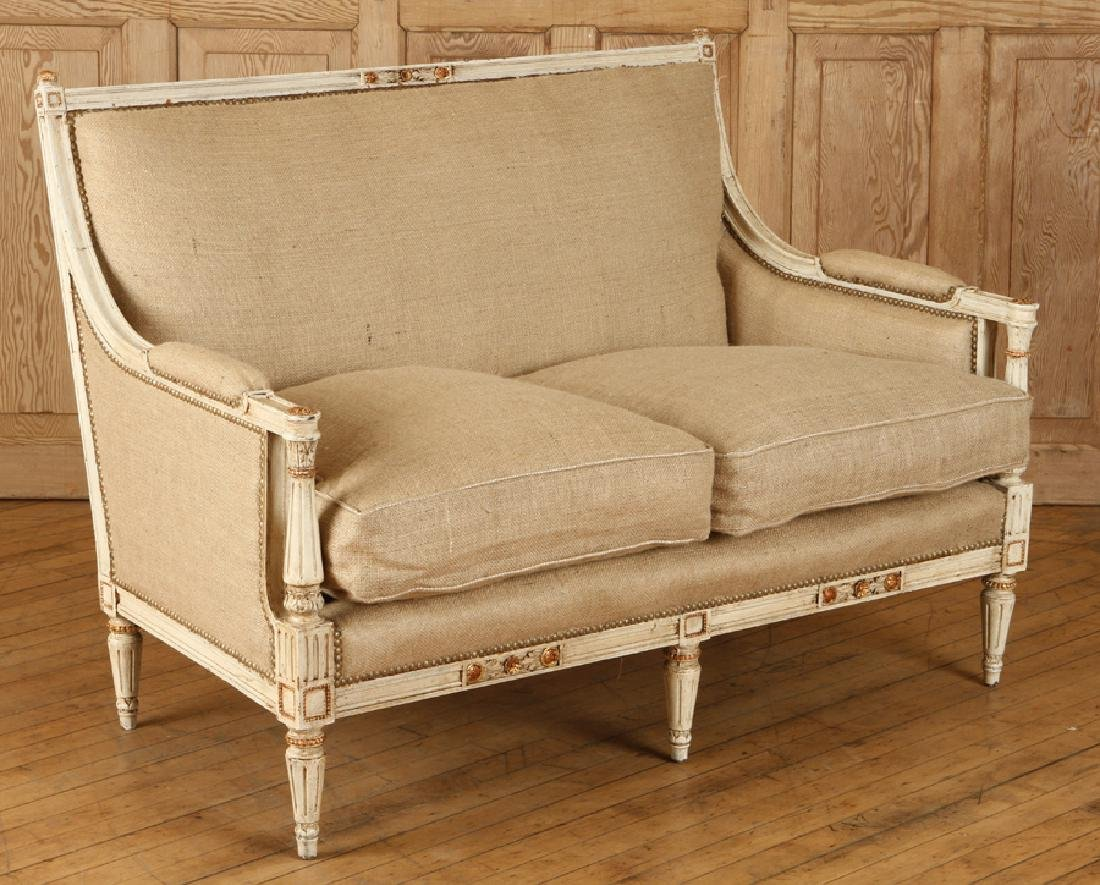 CARVED PAINTED FRENCH LOUIS XVI STYLE SETTEE 1920