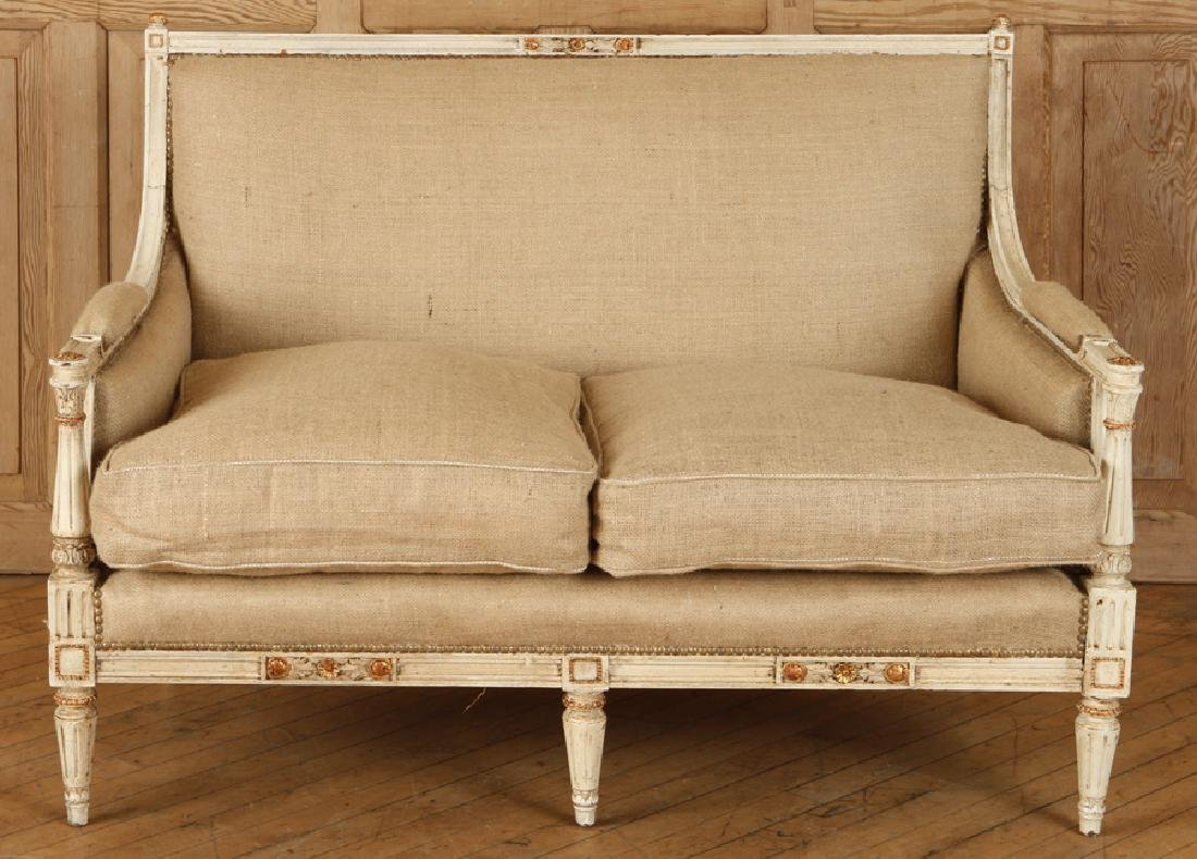 CARVED PAINTED FRENCH LOUIS XVI STYLE SETTEE 1920 - 2