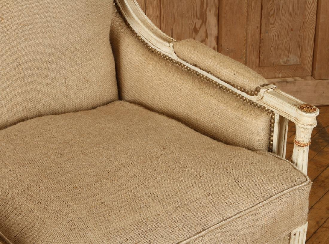 CARVED PAINTED FRENCH LOUIS XVI STYLE SETTEE 1920 - 4