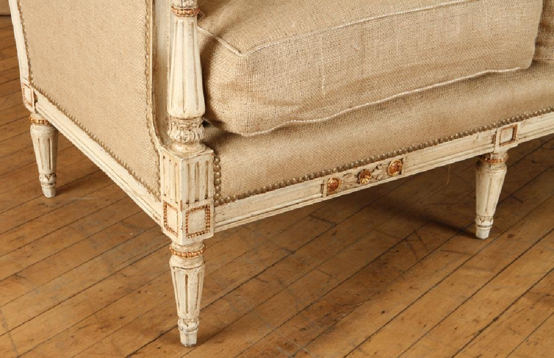 CARVED PAINTED FRENCH LOUIS XVI STYLE SETTEE 1920 - 5